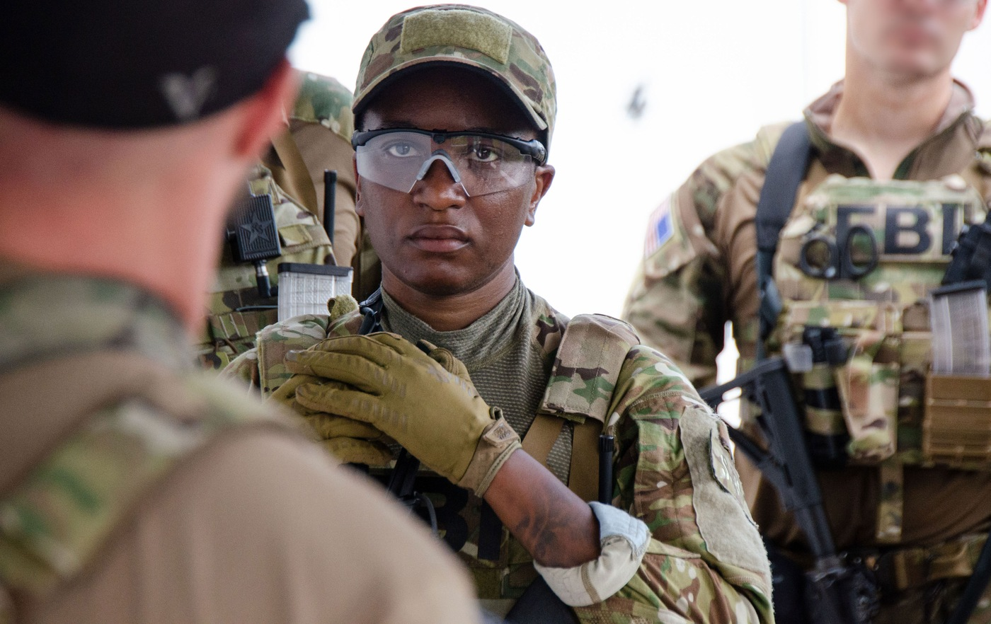 SWAT selectee Tai listens to instructors during SWAT New Operator Training School, or NOTS, in San Juan, Puerto Rico in May 2021.