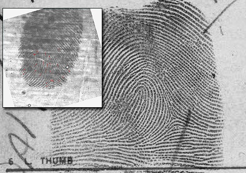 Two employees of the Omaha Police Department were presented the 2012 Latent Hit of the Year Award for solving a murder case from 1978, matching a latent thumbprint from the crime scene (inset) to this IAFIS record.