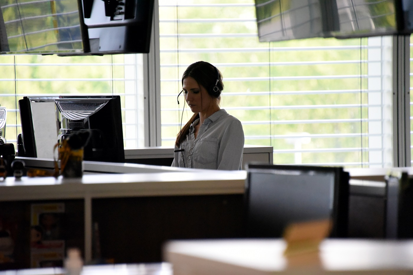 A customer service representative takes information from a caller at the Public Access Line, part of the Bureau's Criminal Justice Information Services (CJIS) Division in Clarksburg, West Virginia.