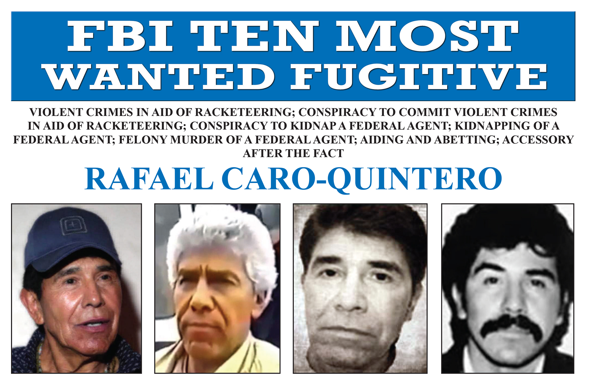 Screenshot of top portion of Rafael Caro-Quintero's Ten Most Wanted Fugitive poster