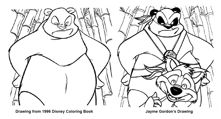 Drawing on left depicts panda from a 1996 Disney coloring book; drawing on right is one that Jayme Gordon traced and claimed was his own during his attempt to defraud the makers of the film Kung Fu Panda.