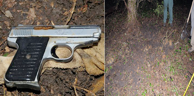 Collage showing a handgun and the wooded area where the gun was buried by gang members who used it to murder a robbery witness and his wife in the Charlotte, North Carolina area on October 23, 2014.