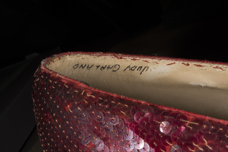 A close-up view of one of the ruby slippers bearing Judy Garland's name. The pair of shoes was stolen in 2005 and recovered by the FBI in 2018.