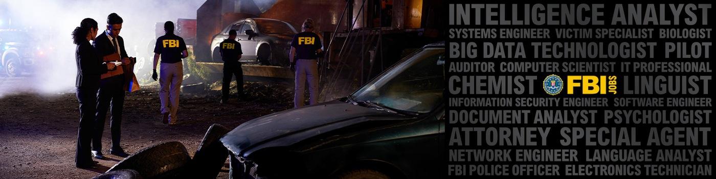 FBI investigators examine a crime scene.