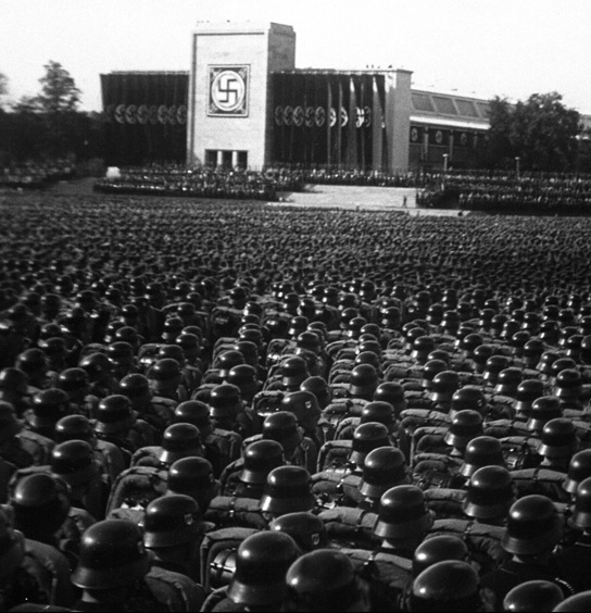 A mass roll call of Nazi troops in Nuremberg, November 9, 1935. National Archives photo.