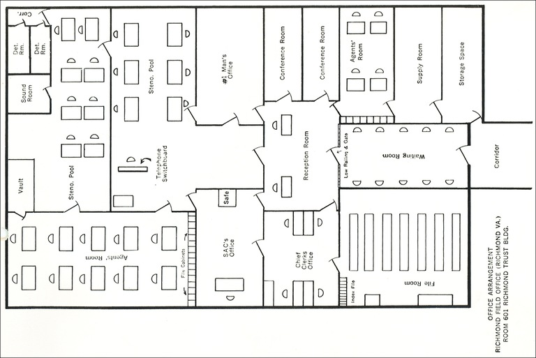 Floor plan of the Richmond field office in 1942.