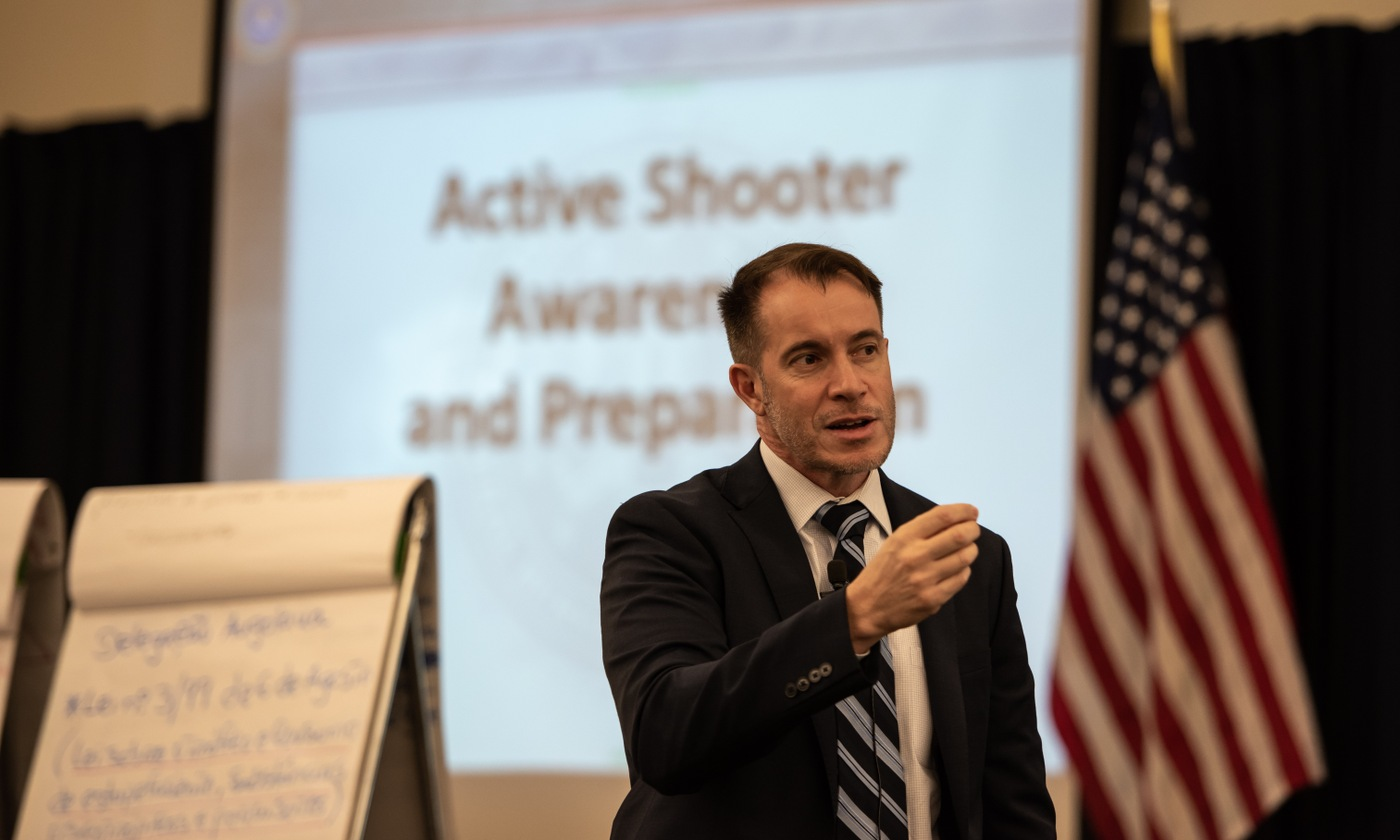 FBI Special Agent Rick Hernandez speaks about countering violent extremism to delegates from six African nations at the International Law Enforcement Academy (ILEA) in Roswell, New Mexico in April 2018.