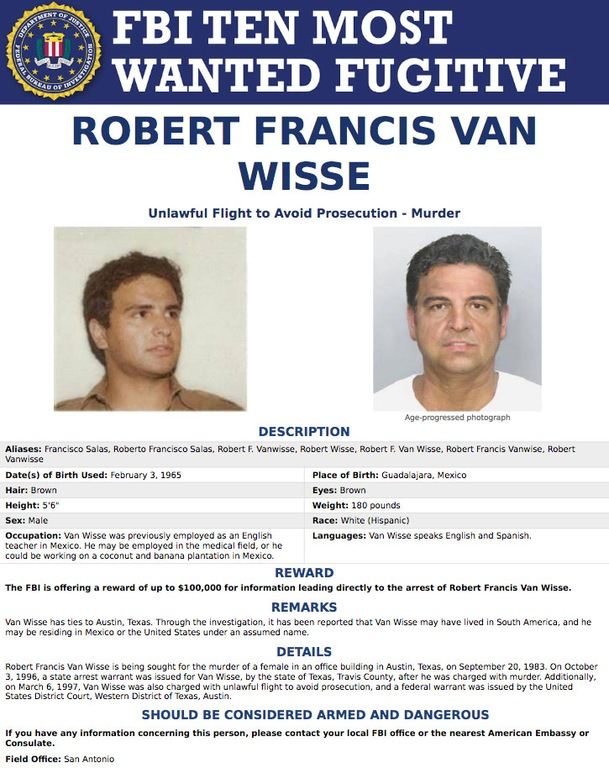 Screenshot of FBI Ten Most Wanted Fugitive poster for Robert Francis Van Wisse