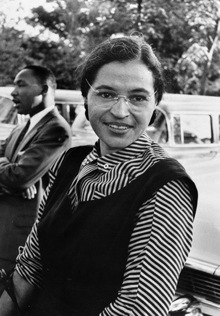 Rosa Parks with Martin Luther King, Jr. in 1955. National Archives photo.