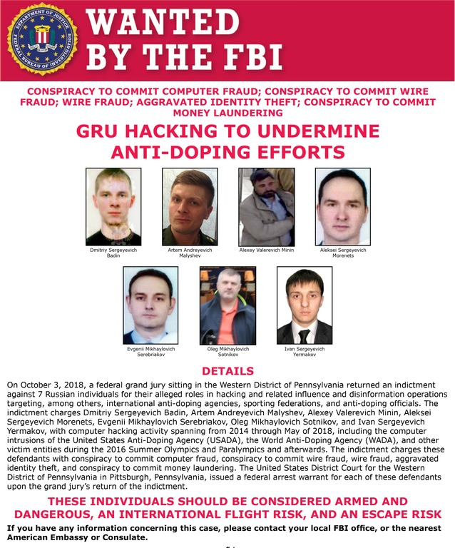 Screenshot of Wanted Poster for seven Russian GRU agents wanted for their efforts to undermine anti-doping efforts through hacking.