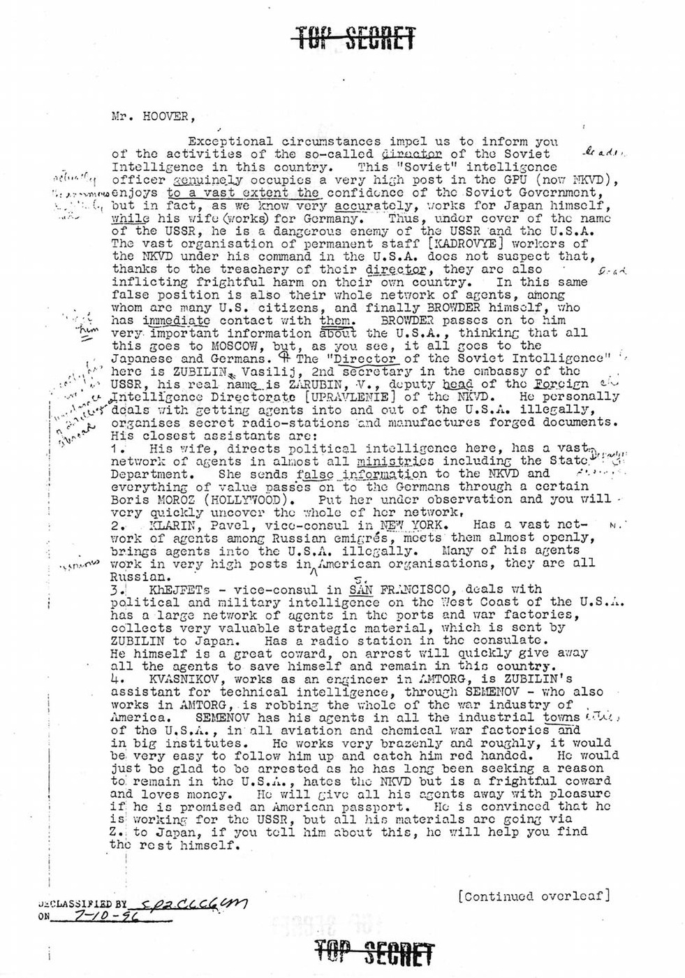 A copy of the mysterious letter that appeared at FBI Headquarters discussing Soviet espionage during World War II.