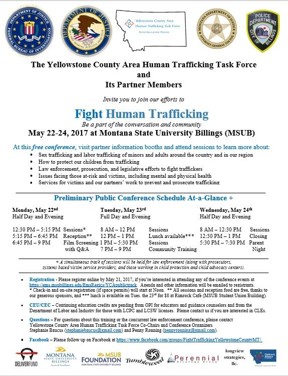 Flyer image for Salt Lake City - Yellowstone County Human Trafficking Conference