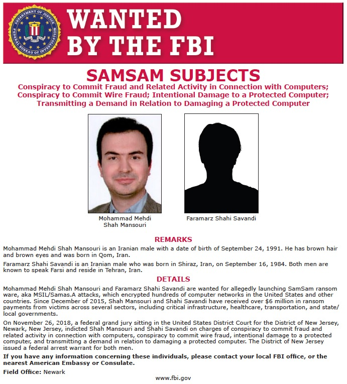 Screenshot of Wanted by the FBI poster for two Iranian nationals indicted in connection with the deployment of SamSam ransomware.