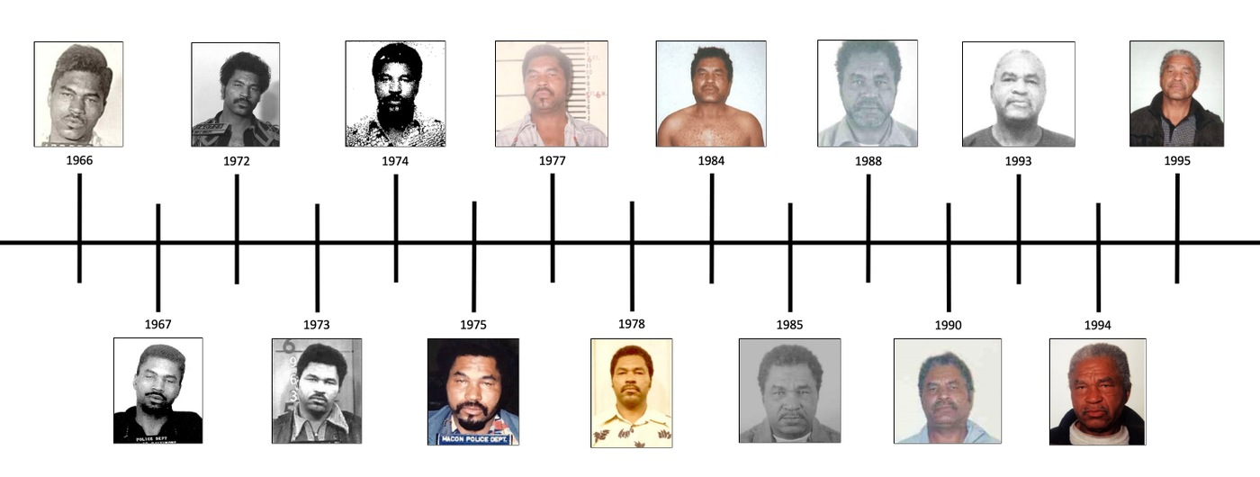 Composite image of timeline of various booking photos of serial killer Samuel Little, from 1966-1995.