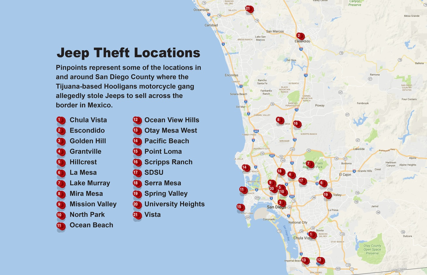 Map showing locations in the San Diego area where the Hooligans motorcycle gang committed 21 of their Jeep thefts, including Chula Vista, Escondido, Golden Hill, Grantville, Hillcrest, La Mesa, Lake Murray, Mira Mesa, Mission Valley, North Park, Ocean Beach, Ocean View Hills, Otay Mesa West, Pacific Beach, Point Loma, Scripps Ranch, San Diego State University, Serra Mesa, Spring Valley, University Heights, and Vista.