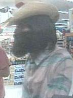 Suspect responsible for robbing the U.S. Bank branch located inside the Albertsons grocery store at 9650 Winter Gardens Boulevard in Lakeside, California, on Wednesday, April 30, 2014.