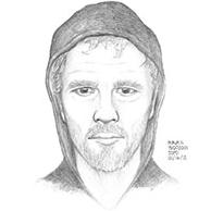 Sketch of the suspect who robbed the Regents Bank, 875 Prospect Street, La Jolla, California, on Wednesday, January 14, 2015.