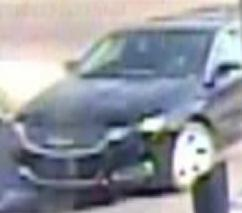 Newer, black colored vehicle with no plates used by the suspect who attempted to rob the California Bank and Trust located at 29124 Valley Center Road in Valley Center, California, on Friday, April 3, 2015.