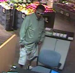 Suspect responsible for robbing the U.S. Bank located inside the Vons grocery store at 3645 Midway Drive in San Diego, California, on Tuesday, September 8, 2015.