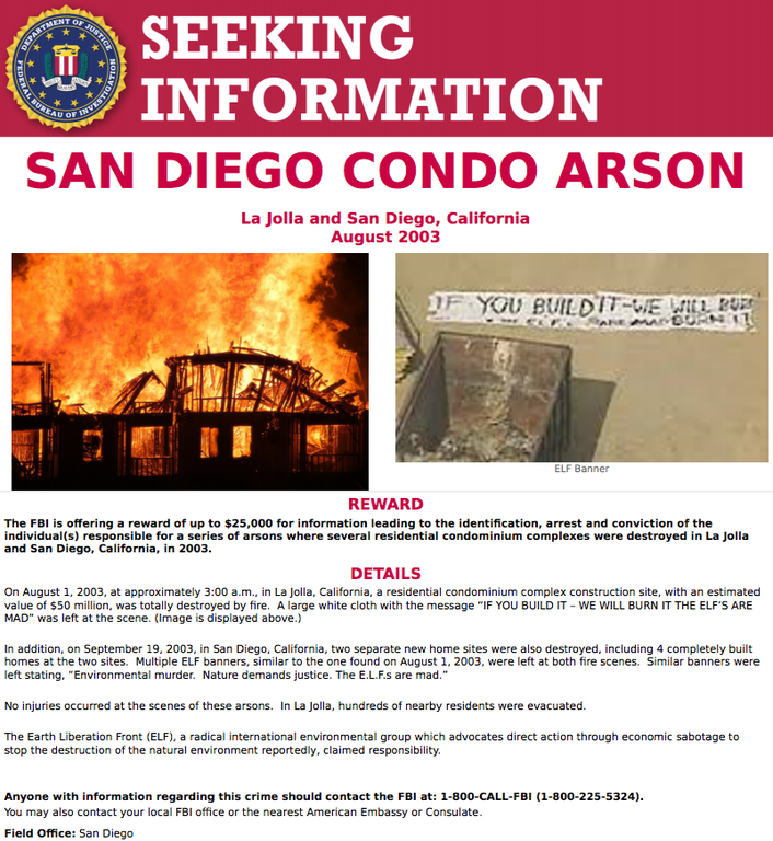 ELF SD Arson Poster