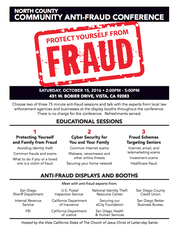 The San Diego FBI has organized an Anti-Fraud Seminar to be held on Saturday, October 15, 2016 in partnership with local law enforcement agencies and community organizations.