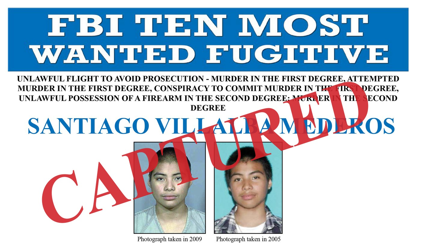 Screenshot of the top portion of Santiago Villalba Mederos's wanted poster, with a Captured banner.