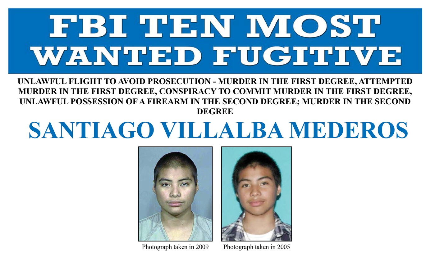 Screenshot of top portion of Santiago Villalba Mederos' Ten Most Wanted Fugitive poster.