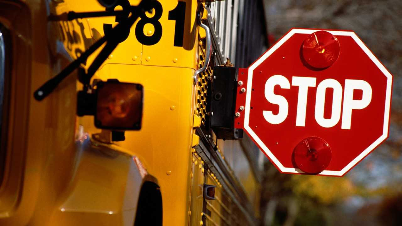 Stock image depicting stop sign arm extending from a school bus.