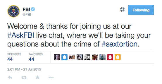 In a live Twitter chat in July 2015, the head of the FBI's Violent Crimes Against Children Section answered questions from users on the social media platform about sextortion crimes.