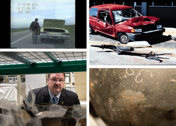 Timothy McVeigh was arrested 90 minutes after the bombing when an alert trooper noticed that his vehicle (top left) did not have a license plate. The axle from the truck bomb (top right) contained an identifying number (bottom right) that was traced back to the Ryder truck McVeigh rented in Kansas. Special Agent Barry Black (bottom left) inspects parts of the Ryder truck that were collected as evidence, which are now archived at the Oklahoma City National Memorial & Museum.