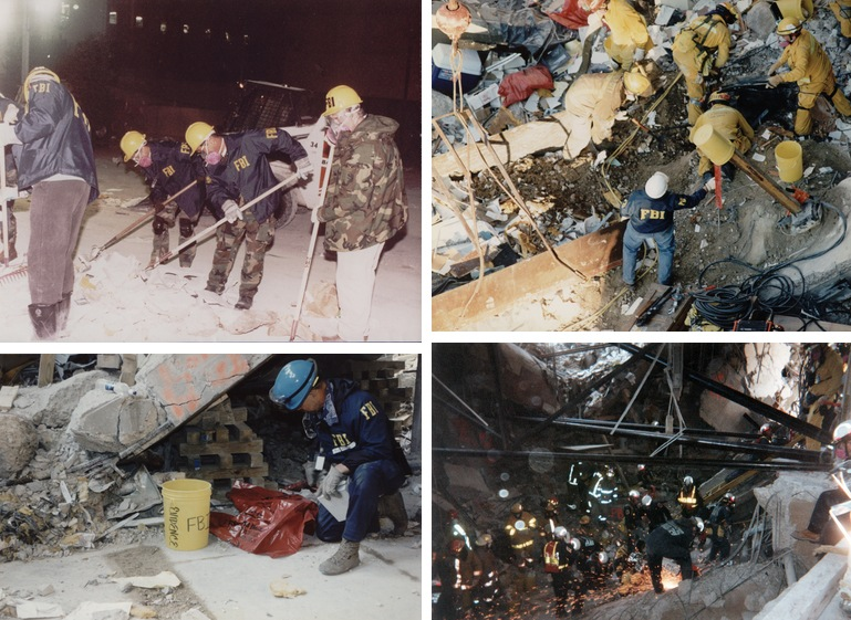 Immediately after the explosion in 1995, FBI personnel were dispatched to the Murrah building to begin the painstaking process of collecting evidence, even as firemen and other first responders worked to recover victims and stabilize the area. A collapse rescue team from Maryland (bottom right) was one of many teams from around the country to offer assistance after the bombing.