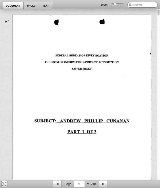 From the Freedom of Information Act file of serial killer Andrew Cunanan.