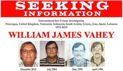 William Vahey is a suspected serial child predator who taught in private American schools overseas in nine different countries beginning in 1972 and whose young victims—believed to be boys between the ages of 12 and 14—may be unaware of what happened to them. Vahey committed suicide in March 2014.