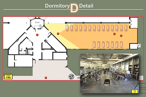 A display used during trial shows the layout of the dorm where the initial assault took place. The red dots show the positions of witnesses, and the inset image shows what they would have seen.