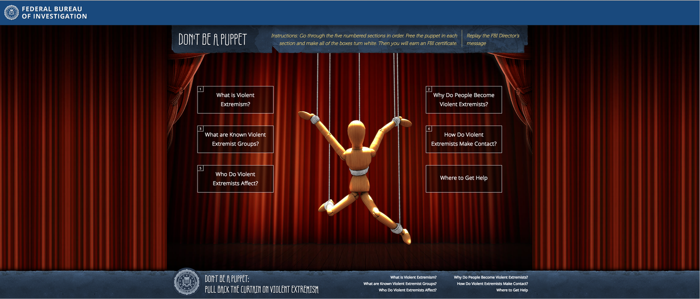 Screenshot of the Don't Be a Puppet website.