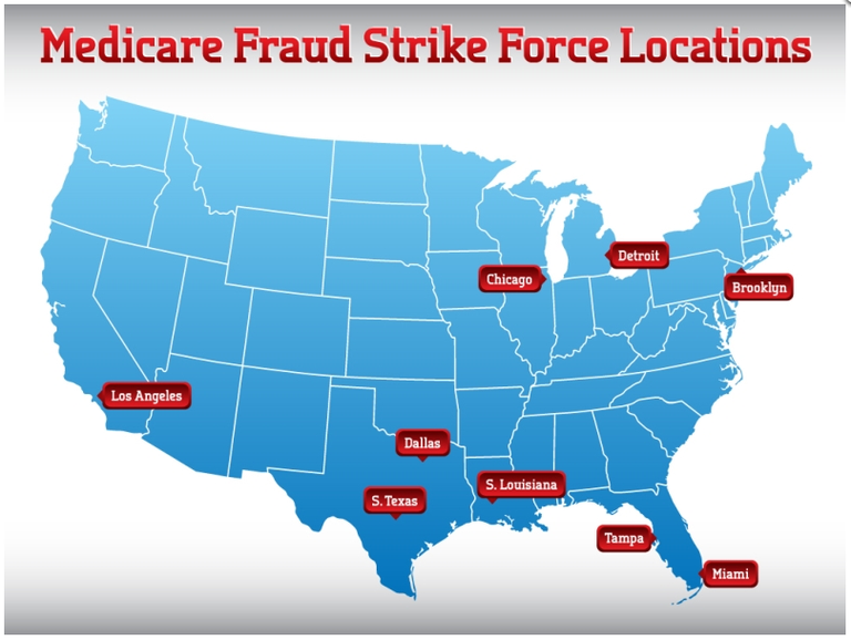 Map of Medicare Fraud Strike Force locations in Los Angeles, Dallas, South Texas, Louisiana, Chicago, Detroit, Brooklyn, Tampa, and Miami in 2016. Image courtesy of HHS-OIG.