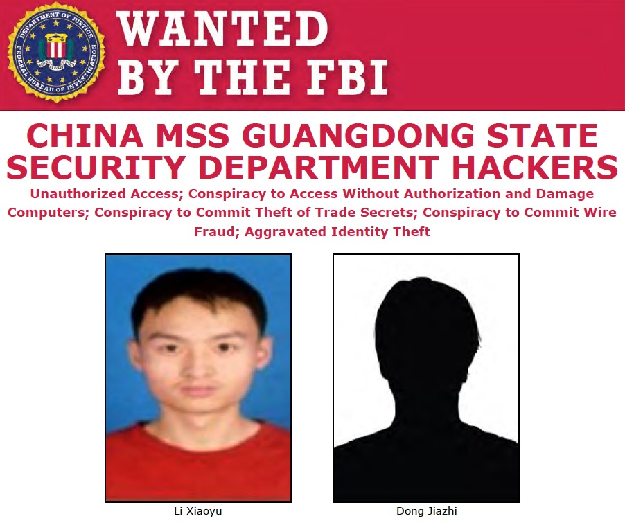 Screenshot of top portion of Wanted poster for Li Xiaoyu and Dong Jiazh, Chinese MSS Guangdong State Security Department hackers
