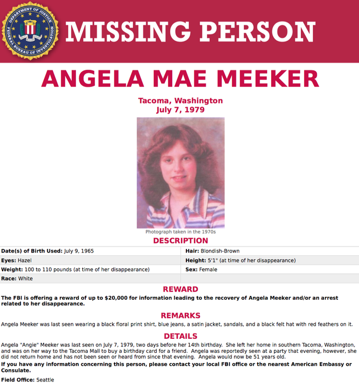 The FBI is offering a reward of up to $20,000 for information leading to the successful resolution of a missing person case: Angela Mae Meeker was last seen in 1979.