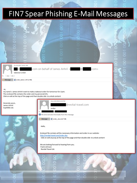 Email examples from the schemes used by cybercrime group FIN7.