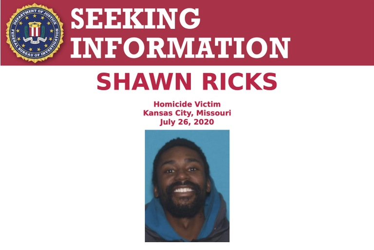 The Federal Bureau of Investigation's Kansas City Field Office in Missouri is seeking the public's assistance in locating the individual(s) responsible for the homicide of Shawn Ricks in 2020.