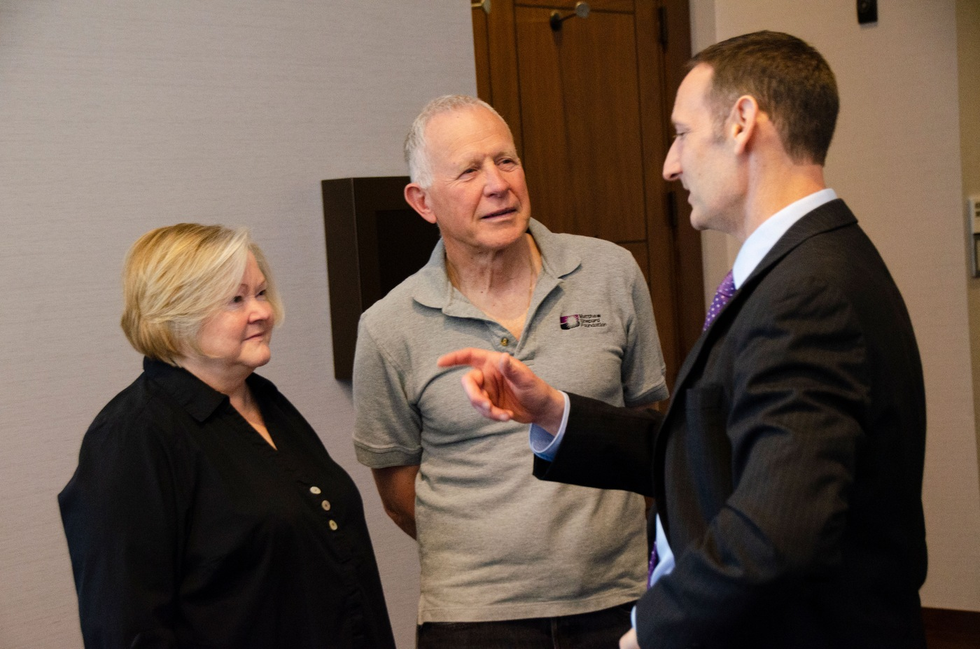 Deputy Assistant Director Jay Greenberg speaks with Judy and Dennis Shepard during an FBI civil rights conference in Denver on June 9, 2021. The couple co-founded the Matthew Shepard Foundation to honor their 21-year-old son who was killed in a hate crime in Wyoming in 1998.