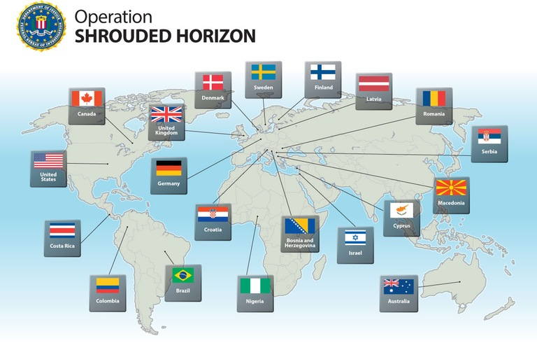 The Shrouded Horizon investigation against the Darkode cyber criminal forum involved law enforcement agencies in 20 countries.