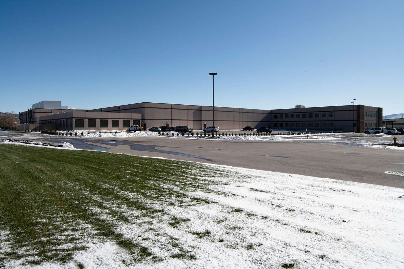 Exterior side view of the FBI's facility in Pocatello, Idaho, where a ribbon-cutting ceremony for its new data center was held November 18, 2019.