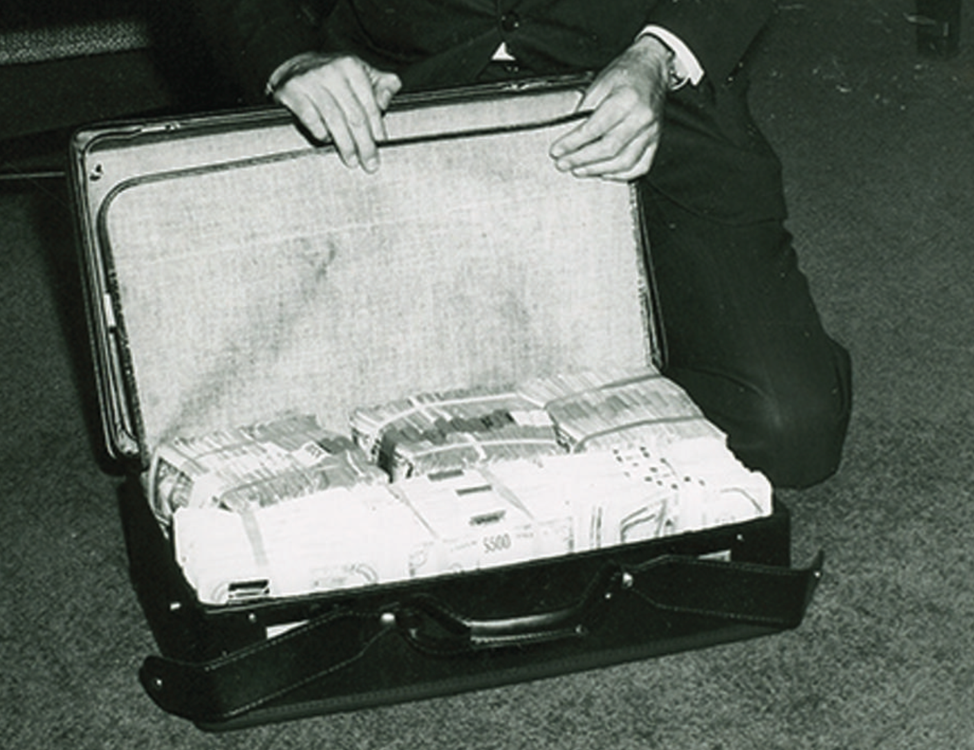 Kidnappers demanded a ransom of $240,000 for Frank Sinatra, Jr. after they abducted him on December 8, 1963. Agents used this suitcase for the cash provided by the Sinatra family. Sinatra, just beginning his career in music, was performing at Harrah's Club Lodge in Lake Tahoe on the border of California and Nevada when he was kidnapped. Three men were caught and convicted of the crime; Sinatra was found unharmed after being freed by one of his captors.