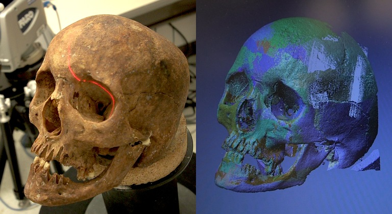 The skulls of unidentified remains are digitally scanned and then replicated using a three-dimensional printer.