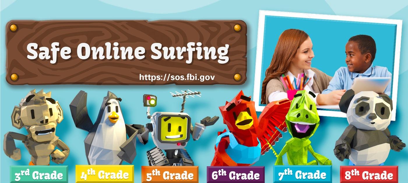 Graphic depicting elements from the FBI's Safe Online Surfing (SOS) website, sos.fbi.gov.