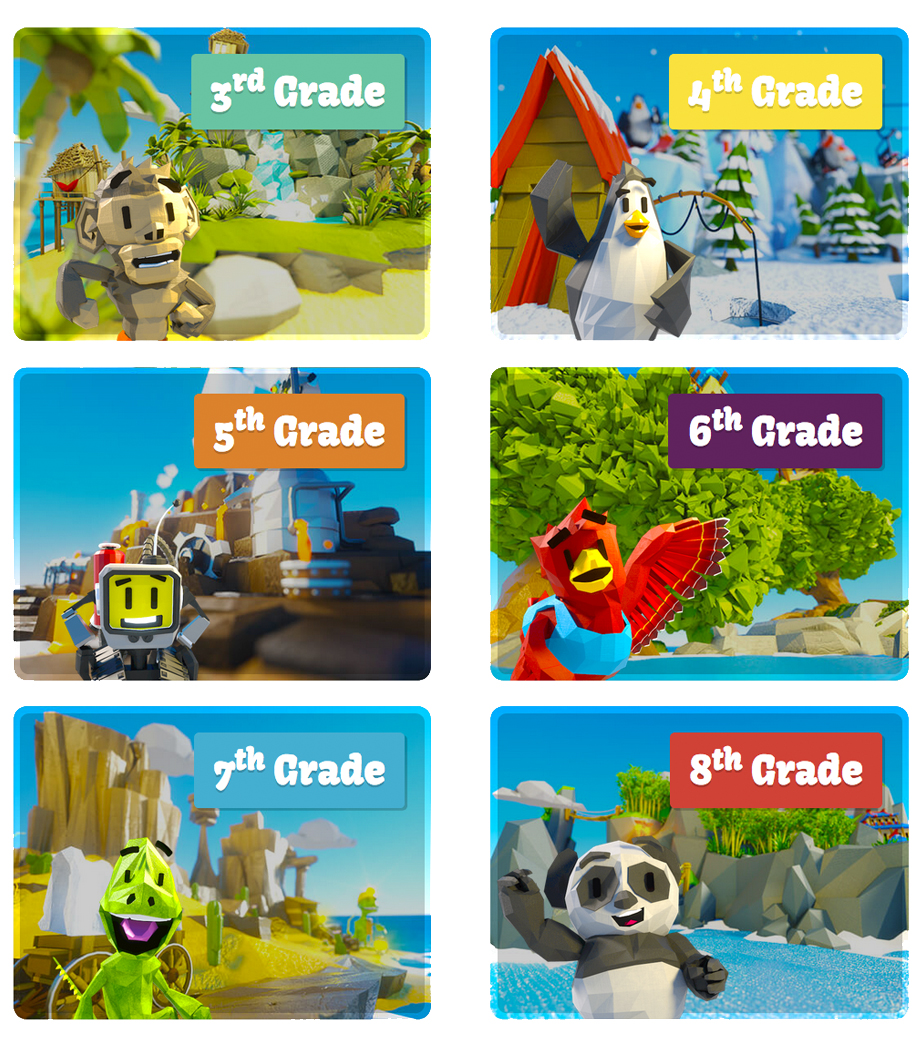 Screenshot of the FBI Safe Online Surfing homepage, depicting the various islands and characters for each grade level served by the program.