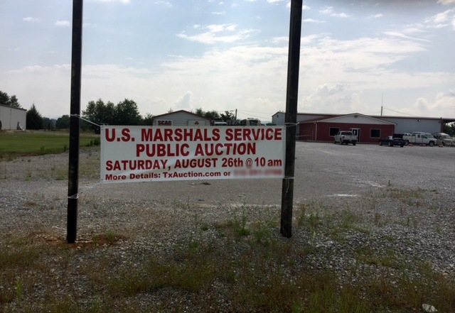 U.S. Marshals Service Auction Sign in Sparta, Tennessee