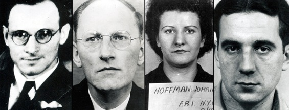 Left to right, Dr. Ignatz Greibl, who fled; and the three convicted spies: Otto Hermann Voss (six years), Johanna Hoffman (four years), and Erich Glaser (two years).