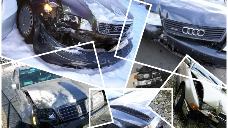 Collage of photos depicting some of the vehicles that were intentionally crashed by members of a Connecticut staged accident ring between 2011 and 2014.
